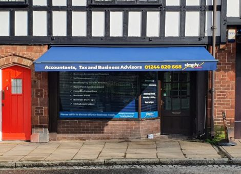 Blue awing installed in chester by dencas